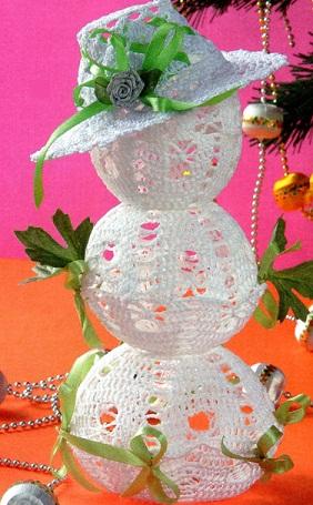 Снеговик связан крючком 0,9 из пряжи Ирис.  Высота снеговика 24 см. Схема вязания снеговика крючком.