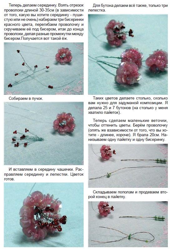 Схемы цветов из бисера и пайеток