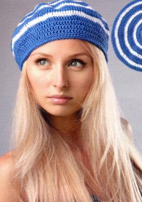 Модель берета взята из журнала Вязание модно и просто 16/2012 г. Берет связан крючком 3,5 из 70 г синей и 30 г белой...