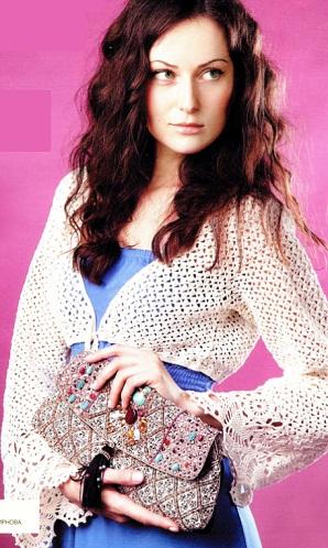 Модель болеро взята из журнала Вязание модно и просто 13/2012 г.Ажурное болеро связано крючком 2 из 200 г пряжи Lily...