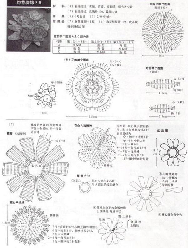 Тунисское вязание крючком цветы со схемами мк 17