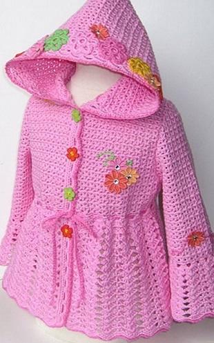 Пальто для девочки крючком