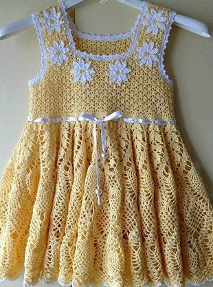 Как связать платье для девочки крючком
