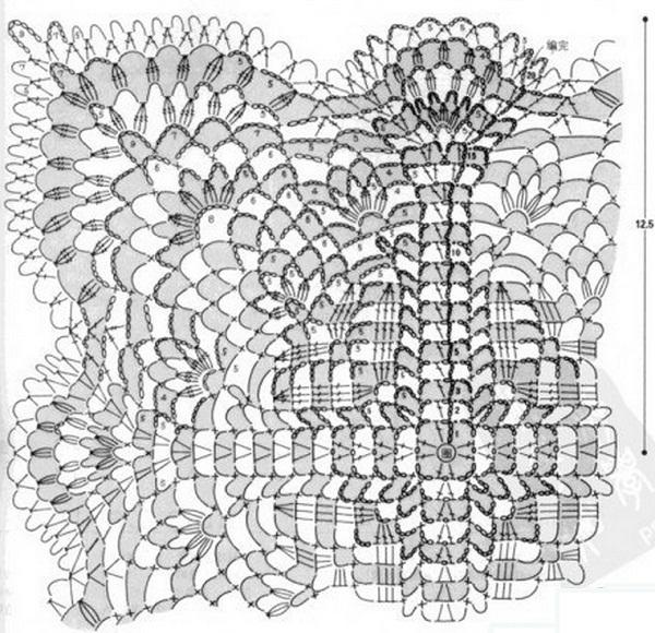 Квадратная салфетка крючком схемы. Ажурная салфетка из