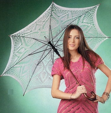 Способ вязания... крючок.  Хлопковая пряжа 200м/50г.  3. зонт вязаный крючком. каркас для зонта.  300г белого цвета.