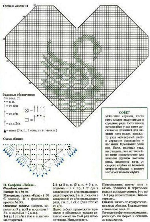 Схема филейного вязания лебедей крючком схема