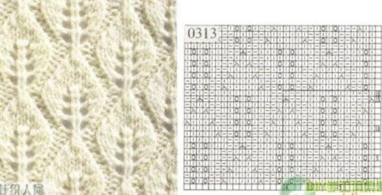 Вязание на спицах узор листики