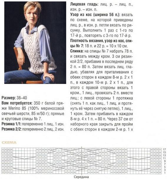 Вязание жилетки спицами для женщин с описанием и схемами 26