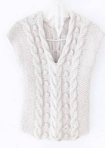 Оригинальный узор из кос для вязания теплой жилетки спицами 17