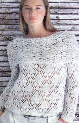 Схема вязания ажурной женской белой блузки спицами.