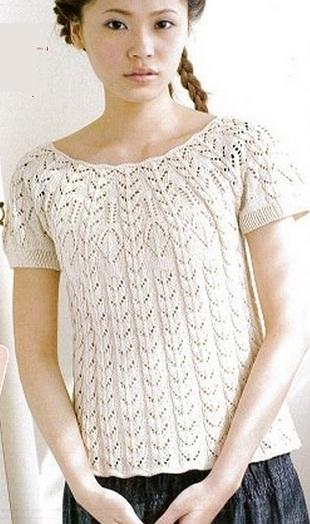 Вязание ажурной кофты спицами