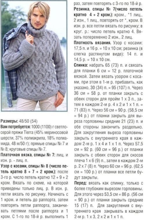 мужской пуловер спицами схема.