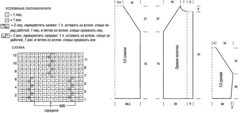 Связать пальто описание схема