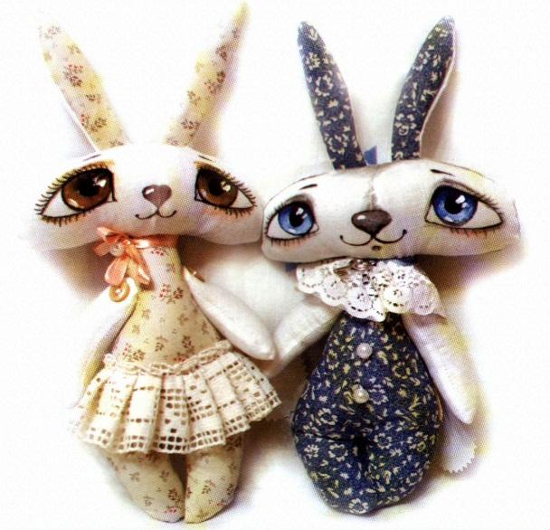 Источник.  Пасхальные зайцы, забавные девочка и мальчик - подарок к пасхе своими руками.  Шьем пасхальных зайцев.