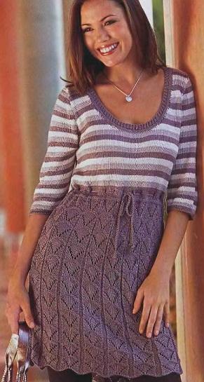 Вязаное спицами платье схема