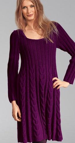 Теплое вязаное платье схема и
