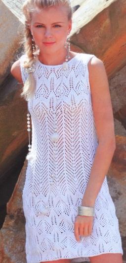 Вязание летнее платье спицами - Master class.