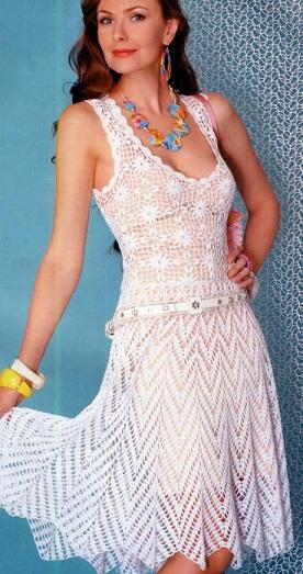 Связать белое платье