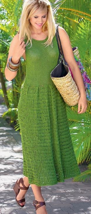 Вязание длинного платья спицами