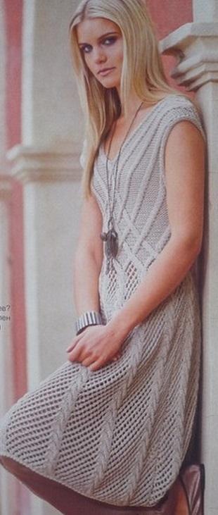 Элегантное платье спицами