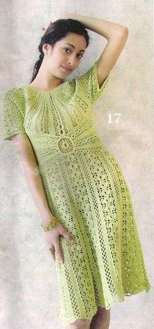 Оливковое платье крючком