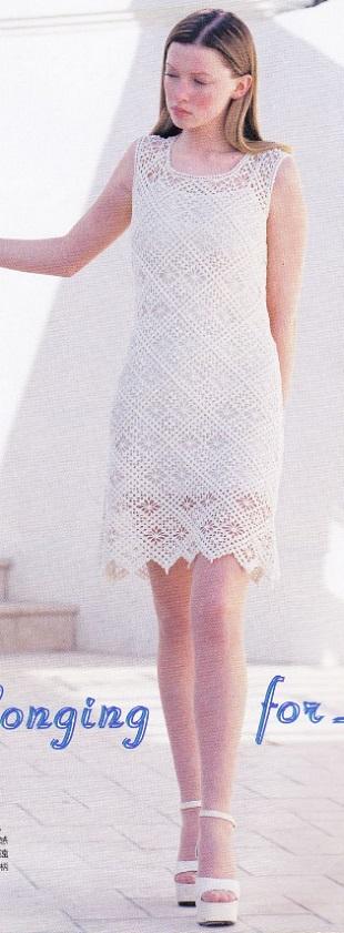 Вязание платья из мотивов крючком