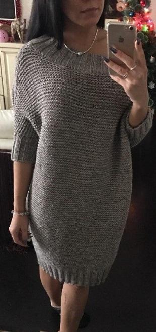 Платье крупной вязкой