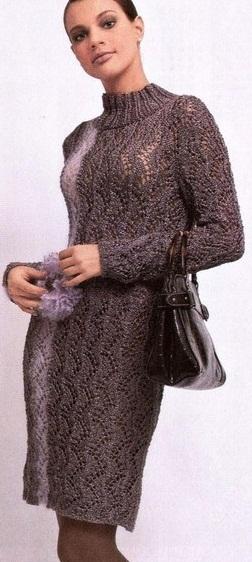 Вязаное платье спицами - схемы