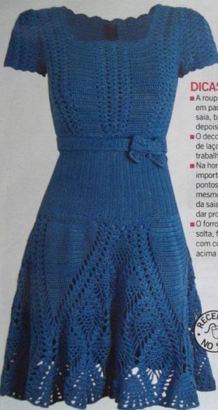 Синее платье крючком