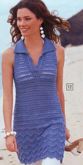 Эту модель связанную спицами 4.5 можно носить как платье и как тунику.  Схема вязания платья-туники спицами. туника.