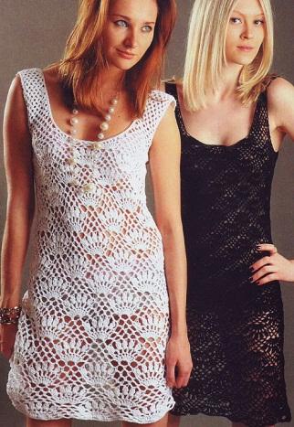 Белое и черное ажурные платья