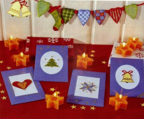 Открытки к Новому 2011 году и рождеству своими руками.Вышивка.