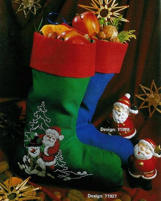 Новогодний сапожок.Вышивка. Дед Мороз.