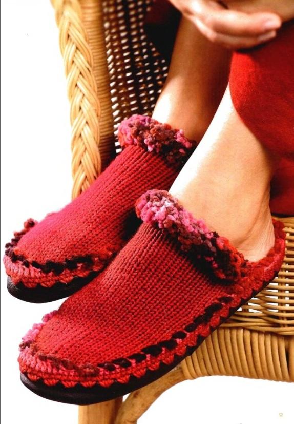 Тапочки. Вязание. Спицы.