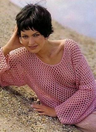 Пуловер простым узором
