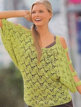 Вязать пуловер крючком