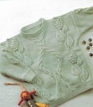 Вязание пуловера с узорами спицами