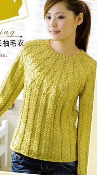 Пуловер с кокеткой спицами