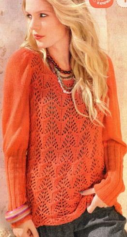 """Модель из журнала  """"Маленькая Diana """" 11/2012 г. Ажурный пуловер связан спицами 3.5 из 500/550 г пряжи (60% шелка..."""