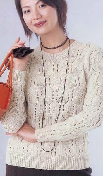 Пуловер с узором спицами