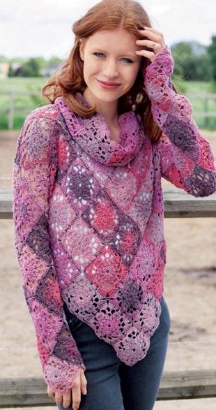 Пуловер из квадратных мотивов крючком