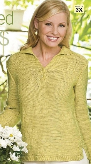 Пуловер с теневым узором спицами