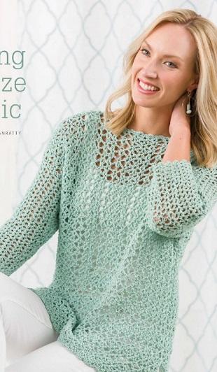 Салатовый пуловер крючком