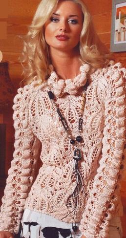 Вязаный пуловер схема .