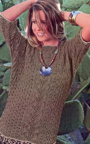 """Модель пуловера взята из журнала Сабрина 5/2012 г. Пуловер с рукавами  """"летучая мышь """" связан спицами и крючком 3.5 из..."""