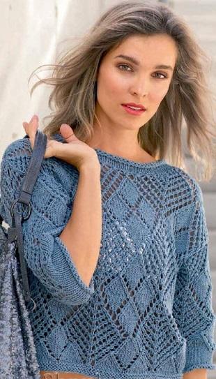 Пуловер из ажурных ромбов спицами