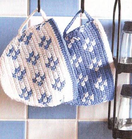 Вязание прихватки крючком.  Простые схемы вязания прихваток крючком в.