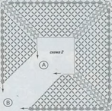 Шаль связана крючком 2.5 из вискозного шелка.  Схема вязания шали крючком jcomments on.