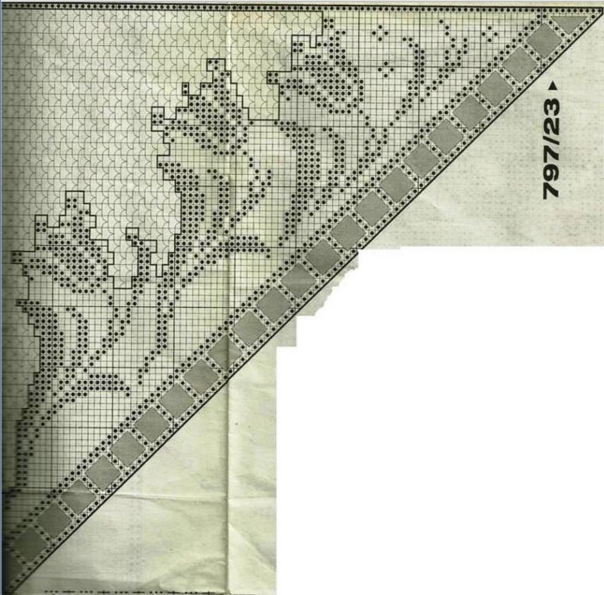 Филейное вязание косынки крючком 11