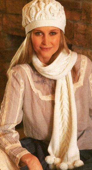 Шапочка и шарф связаны спицами 3-4.Схема.  Шапочка и шарфик (вязание спицами). вязания шапки и шарфа спицами. шапки...